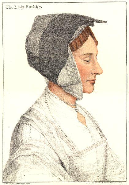 Anne Savage, Baroness Berkeley by Bartolozzi/Holbein. Henry VIII's court 1884