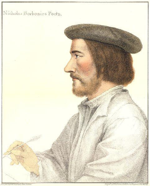 Associate Product Nicholas Bourbo, French poet by Bartolozzi/Holbein. Henry VIII's court 1884