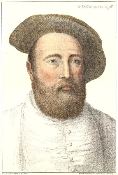 Associate Product Sir George Carew. Died on Mary Rose. Bartolozzi/Holbein. Henry VIII's court 1884