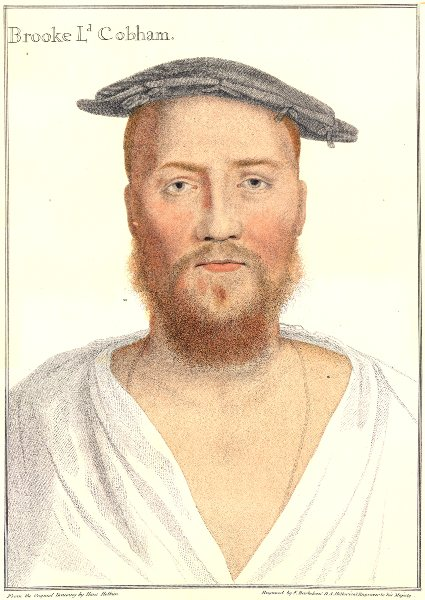 Associate Product George Brook, Lord Cobham by Bartolozzi after Holbein. Henry VIII's court 1884