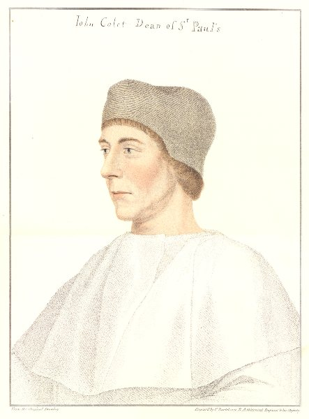 John Colet, Dean of St Paul's by Bartolozzi / Holbein. Henry VIII's court 1884
