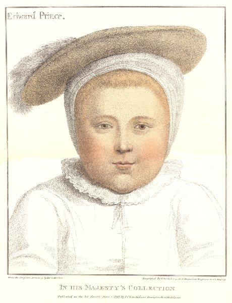 Prince Edward by Bartolozzi after Hans Holbein. Henry VIII's court 1884 print