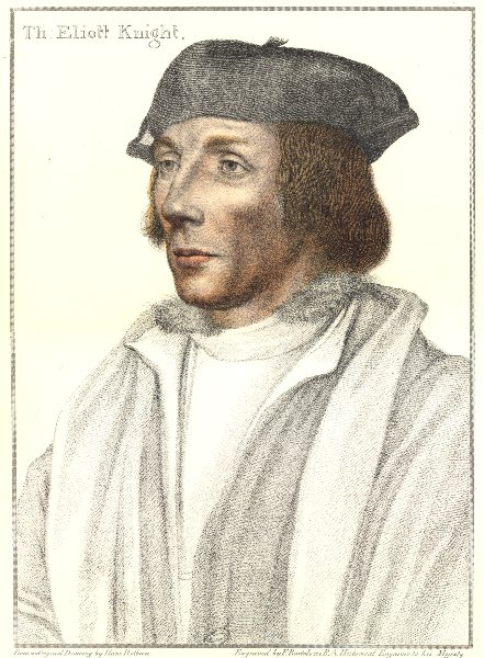 Associate Product Sir Thomas Elyot by Bartolozzi after Holbein. Henry VIII's court 1884 print