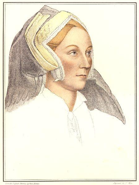 Associate Product Margaret à Barrow, Lady Elyot by Bartolozzi/Holbein. Henry VIII's court 1884