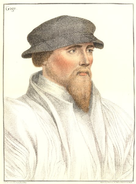 Associate Product Sir John Gage by Bartolozzi after Hans Holbein. Henry VIII's court 1884 print