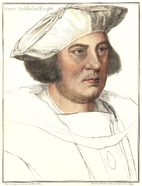 Sir Henry Guildford by Bartolozzi/Holbein. Henry VIII's court 1884 old print