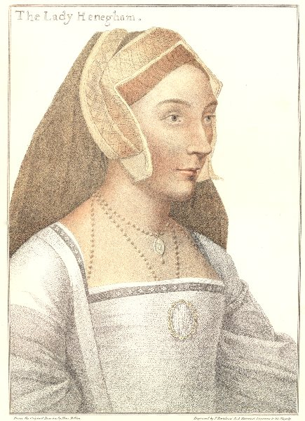 Mary, The Lady Henegham by Bartolozzi after Holbein. Henry VIII's court 1884