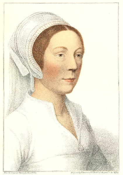 Catherine Howard, 5th wife of Henry VIII by Bartolozzi/Holbein 1884 old print