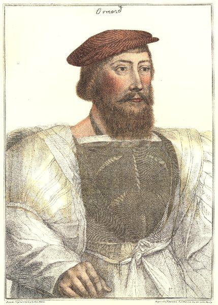 Thomas Boleyn Earl of Ormond, Anne's father. Bartolozzi/Holbein. Henry VIII 1884