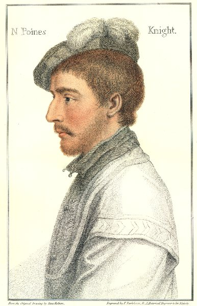 Sir Nicholas Poyntz (son) by Bartolozzi/Holbein. Henry VIII's court 1884 print