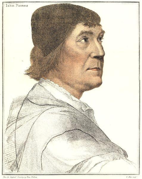 Associate Product John Poyntz by Bartolozzi after Holbein. Henry VIII's court 1884 old print