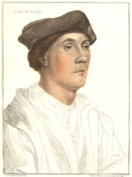 Associate Product Sir Richard Southwell by Bartolozzi after Hans Holbein. Henry VIII's court 1884