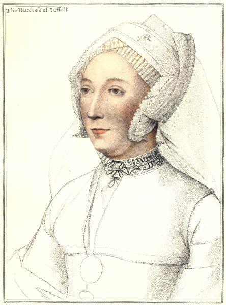 Catherine Willoughby Duchess of Suffolk Bartolozzi/Holbein Henry VIII court 1884