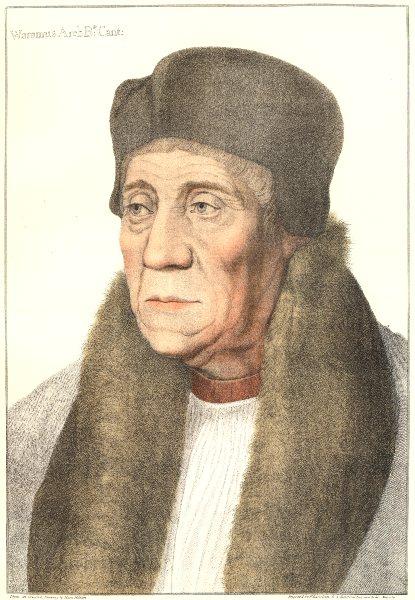 William Warham Archbishop of Canterbury Bartolozzi/Holbein Henry VIII court 1884