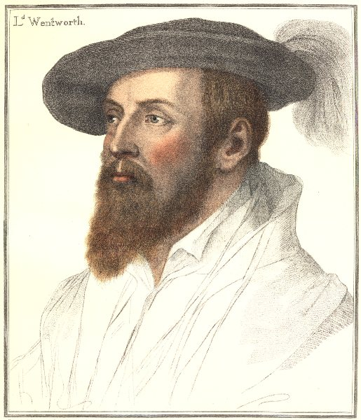 Associate Product Thomas, 1st Baron Wentworth by Bartolozzi after Holbein. Henry VIII's court 1884