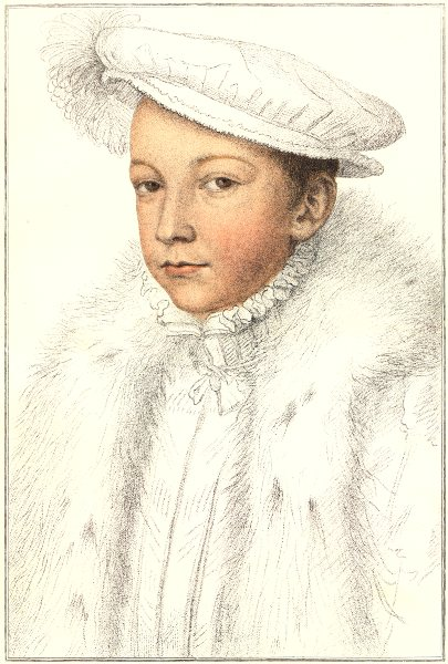 Francis II when Dauphin of France by Bartolozzi/Holbein. Henry VIII's court 1884