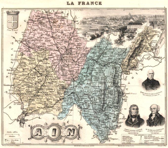 Associate Product AIN. Ain département.  Bourg-en-Bresse vignette. Vuillemin 1903 old map