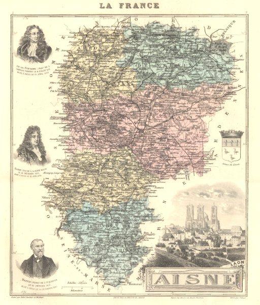 Associate Product AISNE. Aisne département.  Laon vignette. Vuillemin 1903 old antique map chart