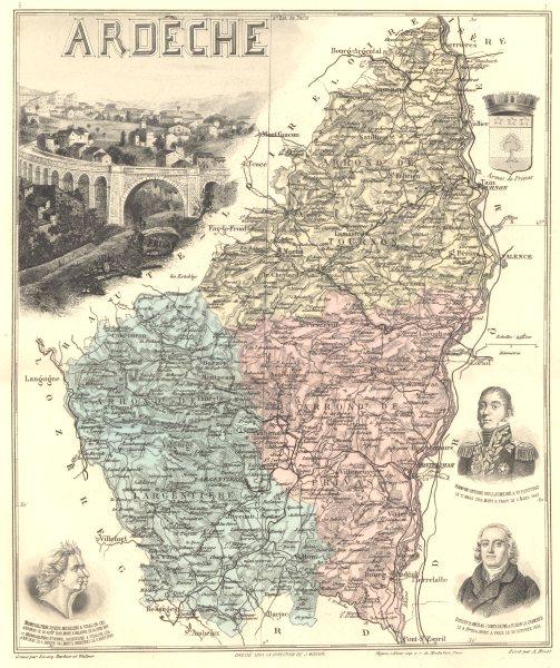 Associate Product ARDÈCHE. Ardèche département.  Privas vignette. Vuillemin 1903 old antique map