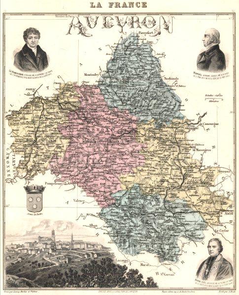 Associate Product AVEYRON. Aveyron département.  Rodez vignette. Vuillemin 1903 old antique map