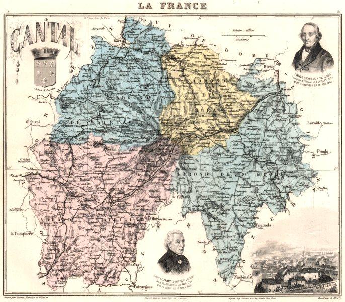 Associate Product CANTAL. Cantal département.  Aurillac vignette. Vuillemin 1903 old antique map