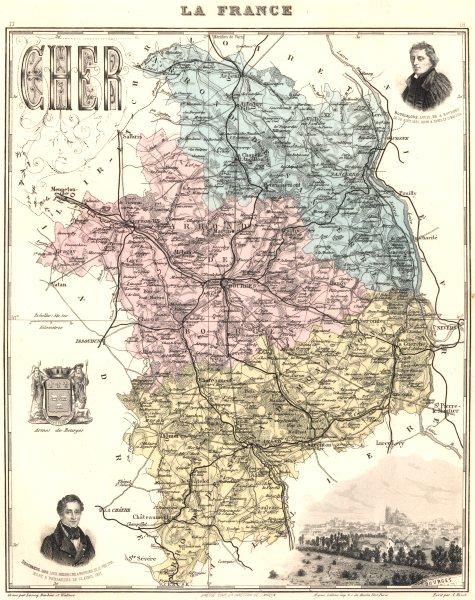 Associate Product CHER. Cher département.  Bourges vignette. Vuillemin 1903 old antique map