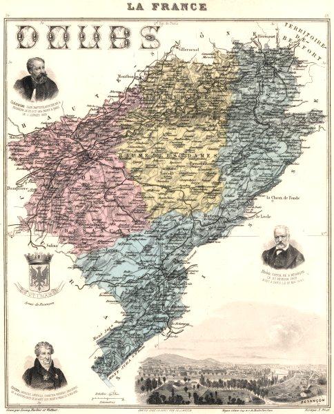 DOUBS. Doubs département.  Besançon vignette. Vuillemin 1903 old antique map