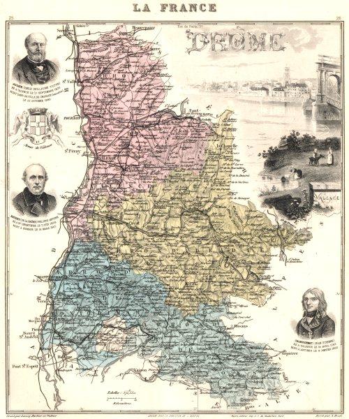 Associate Product DRÔME. Drôme département.  Valence vignette. Vuillemin 1903 old antique map
