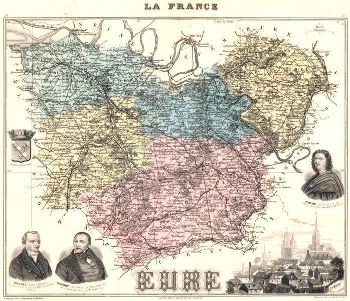 Associate Product EURE. Eure département.  Évreux vignette. Vuillemin 1903 old antique map chart