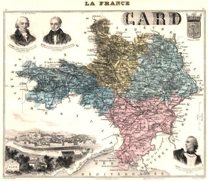 Associate Product GARD. Gard département.  Alais vignette. Vuillemin 1903 old antique map chart