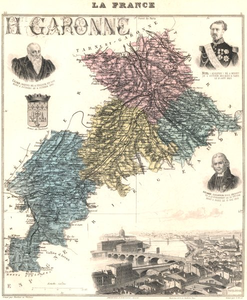Associate Product HAUTE-GARONNE. Haute-Garonne département.Toulouse vignette.Vuillemin 1903 map