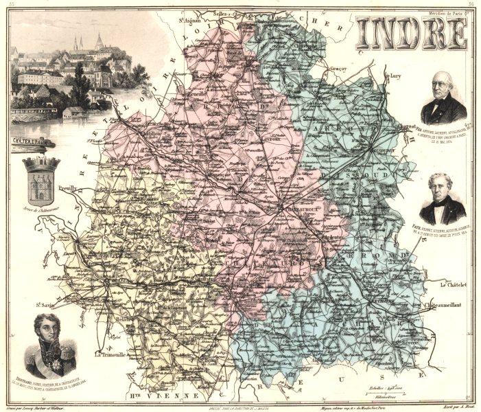 Associate Product INDRE. Indre département.  Châteauroux vignette. Vuillemin 1903 old map