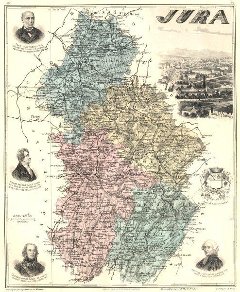 Associate Product JURA. Jura département.  Lons-le-Saunier vignette. Vuillemin 1903 old map