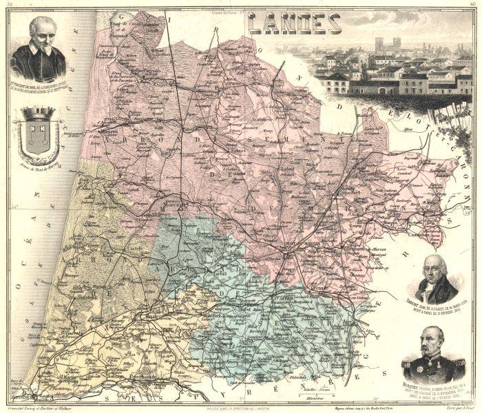 Associate Product LANDES. Landes département.  Mont-de-Marsan vignette. Vuillemin 1903 old map
