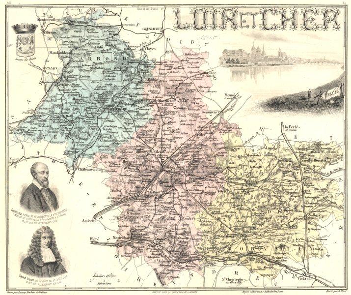 Associate Product LOIR-ET-CHER. Loir-et-Cher département.  Blois vignette. Vuillemin 1903 map