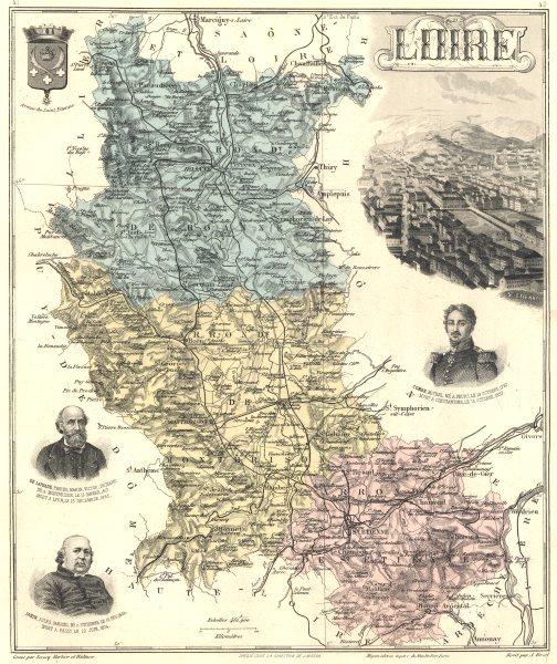 Associate Product LOIRE. Loire département.  Saint-Étienne vignette. Vuillemin 1903 old map