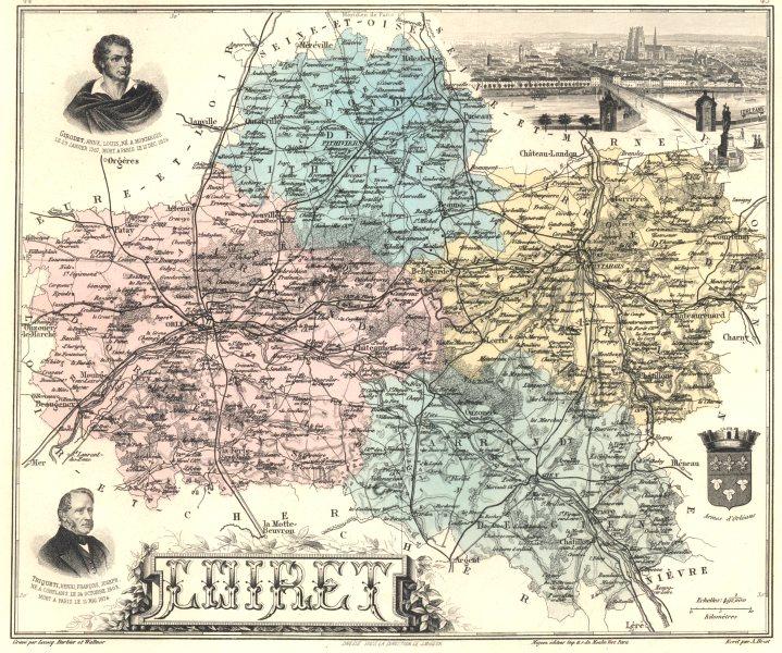 Associate Product LOIRET. Loiret département.  Orléans vignette. Vuillemin 1903 old antique map