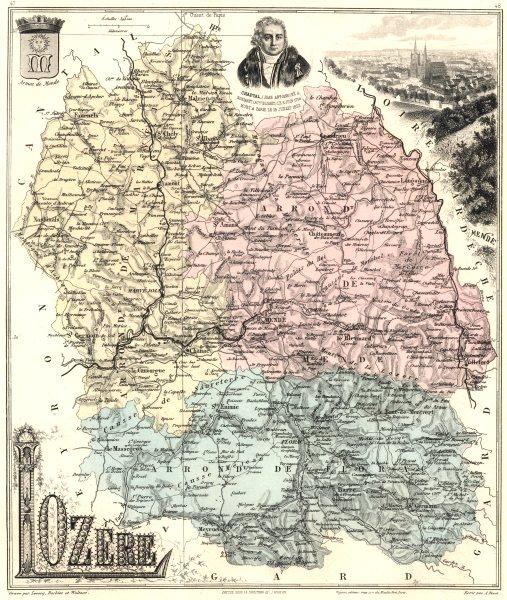 Associate Product LOZÈRE. Lozère département.  Mende vignette. Vuillemin 1903 old antique map