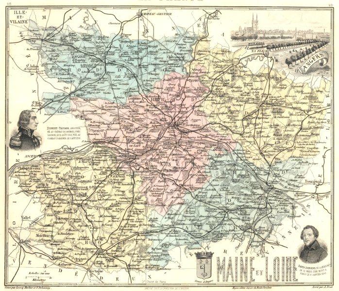 Associate Product MAINE-ET-LOIRE. Maine-et-Loire département. Angers vignette.Vuillemin 1903 map