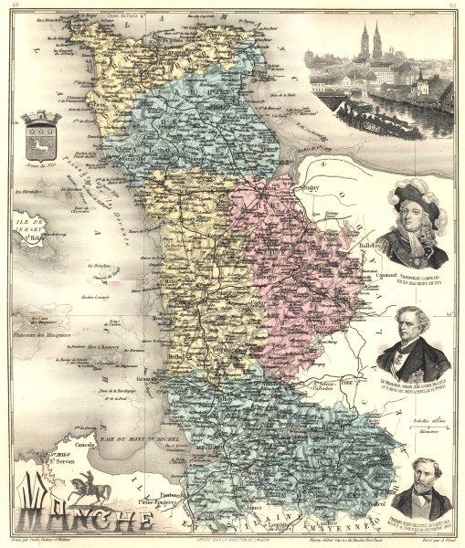 Associate Product MANCHE. Manche département.  Saint-Lô vignette. Vuillemin 1903 old antique map