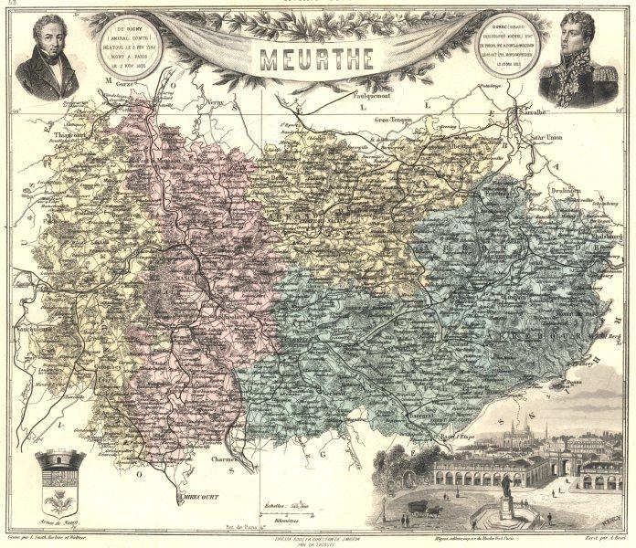 Associate Product FRANCE. Meurthe département.  Nancy vignette. Vuillemin 1903 old antique map