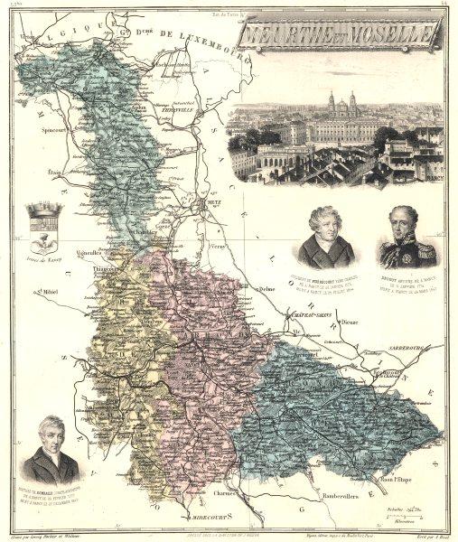 MEURTHE-ET-MOSELLE. département. Nancy vignette.Vuillemin 1903 old antique map