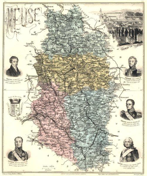 Associate Product MEUSE. Meuse département.  Bar-le-Duc vignette. Vuillemin 1903 old antique map