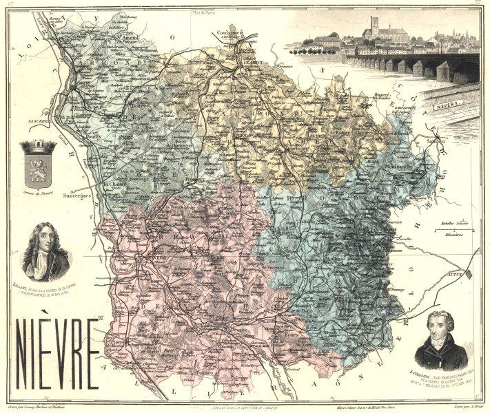 Associate Product NIÈVRE. Nièvre département.  Nevers vignette. Vuillemin 1903 old antique map