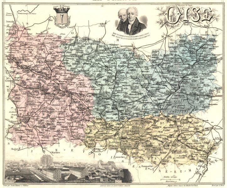 Associate Product OISE. Oise département.  Beauvais vignette. Vuillemin 1903 old antique map