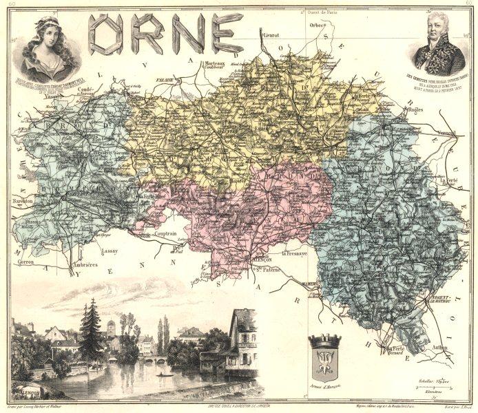 Associate Product ORNE. Orne département.  Alençon vignette. Vuillemin 1903 old antique map