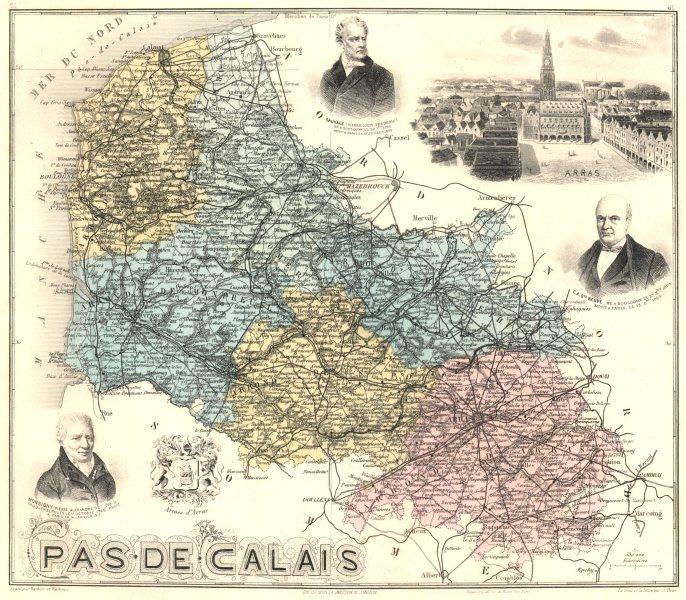 Associate Product PAS-DE-CALAIS. Pas-de-Calais département.  Arras vignette. Vuillemin 1903 map
