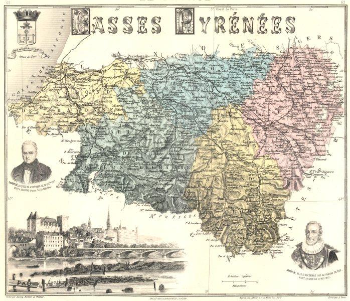 Associate Product PYRÉNÉES-ATLANTIQUES. Basses-Pyrénées département. Pau.Vuillemin 1903 old map