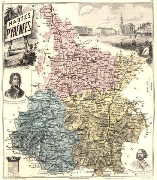 Associate Product HAUTES-PYRÉNÉES.Hautes-Pyrénées département.Tarbes vignette.Vuillemin 1903 map