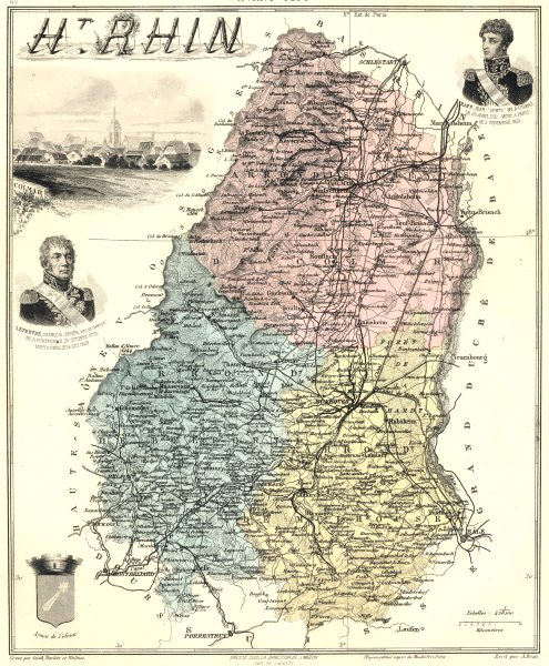 Associate Product HAUT-RHIN. Haut-Rhin département.  Colmar vignette. Vuillemin 1903 old map